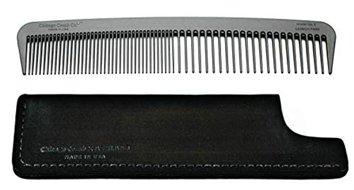 ピュークラシカル素晴らしいですChicago Comb Model 6 Carbon Fiber Comb + Dublin Black Horween leather sheath, Made in USA, ultimate styling comb, for men & women, ultra smooth strong & light, anti-static, American-made leather case [並行輸入品]