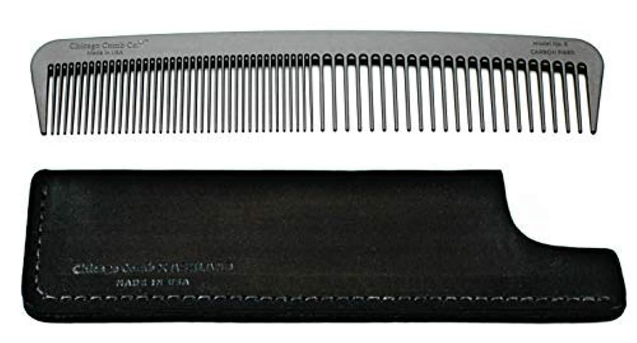 宣教師期待する歩くChicago Comb Model 6 Carbon Fiber Comb + Dublin Black Horween leather sheath, Made in USA, ultimate styling comb, for men & women, ultra smooth strong & light, anti-static, American-made leather case [並行輸入品]