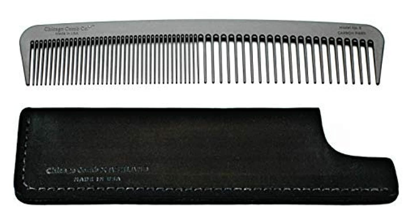 できる打撃火山学者Chicago Comb Model 6 Carbon Fiber Comb + Dublin Black Horween leather sheath, Made in USA, ultimate styling comb, for men & women, ultra smooth strong & light, anti-static, American-made leather case [並行輸入品]