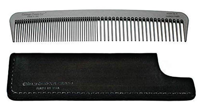ブル並外れたブランクChicago Comb Model 6 Carbon Fiber Comb + Dublin Black Horween leather sheath, Made in USA, ultimate styling comb, for men & women, ultra smooth strong & light, anti-static, American-made leather case [並行輸入品]