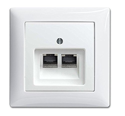 BUSCH JÄGER Komplettset / 2er Netzwerkdose - 2-fach UAE Anschlussdose Cat.6A UAE + 1 Fach Rahmen + Abdeckung - Balance SI Alpinweiß