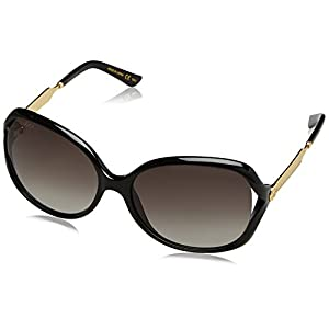 Fashion Shopping Gucci Women 0076S 60 Black/Grey Sunglasses 60mm