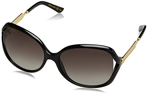 Gucci Women GG0076S 60 Black/Grey Sunglasses 60mm