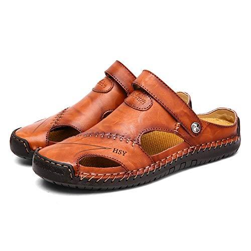 WTFYSYN Sandalias De Ducha,Zapatillas de Hombre de Gran tamaño, Suela Suave de Cuero, Sandalias de Playa al Aire Libre-Rojo-marrón_38,Casa de Mujer Verano Baño Antideslizante