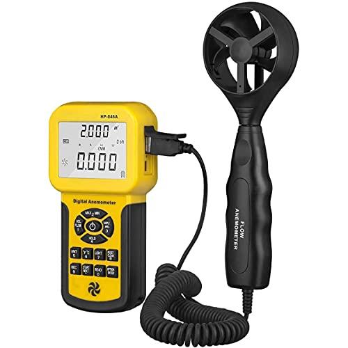 Anemómetro Digital, Medidor De Volumen De Aire De Velocidad Del Viento, Con El Registrador De Datos Lleve Funda Y USB, Para Medir La Velocidad Del Viento, La Temperatura Y El Viento.