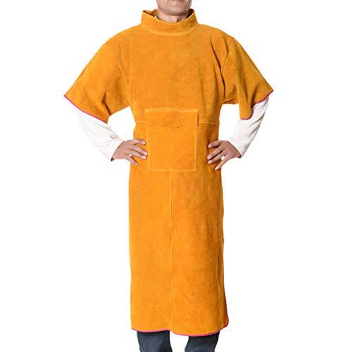 ATGTAOS schort korte mouw slijtvast leer lassen werkkleding pak vlamvertragende anti-Hot lassen beschermende kleding
