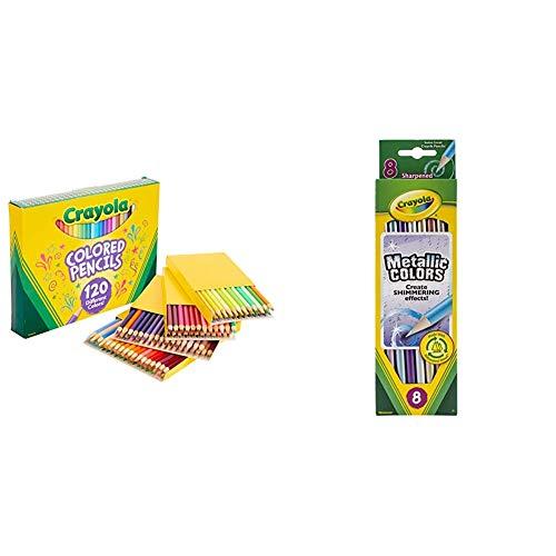 Crayola Colored Pencils, No Repeat Colors, 120 Count, Gift & Crayola Metallic FX Colored Pencils - 8 Pencils