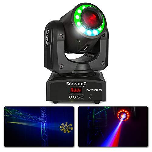 Beamz Panther 35 LED Spot c- 35W weiße LED, 12 RGB SMD LEDs, 9 oder 11 DMX-Kanäle, DMX- oder Standalone-Betrieb, Dimmer von 0-100%, Strobe-Funktion, schwarz