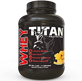 Titan WHEY Premium Whey Protein Powder for Improved Muscle Recovery with 23 Grams of Clean Whey Protein |BCAA and Digestive Enzymes| (Vanilla Wafer, 5 lb)