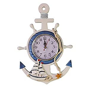WINOMO Mediterranean Style Anchor Clock Beach Sea ...
