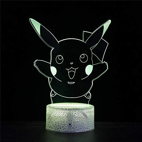Pokemon Pikachu Una ilusión 3D lámpara led luz de noche juego iluminación lámpara 3D decoración del hogar regalos para niños cumpleaños Navidad regalo