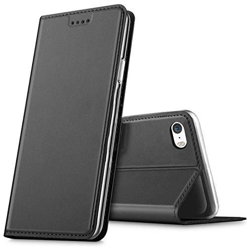 Verco Handyhülle für iPhone SE, Premium Handy Flip Cover für Apple iPhone 5S Hülle [integr. Magnet] Book Hülle PU Leder Tasche, Schwarz