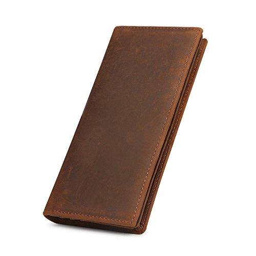 Kattee Men's Vintage Genuine Leather Long Wallet for Checkbook, Credit Cards (Large, Brown)