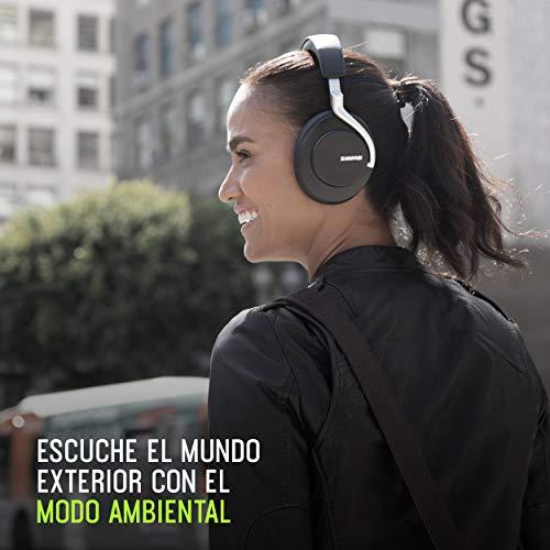 Shure AONIC 50 - Auriculares inalámbricos y con cancelación de ruido, calidad de estudio, Bluetooth 5, ajuste seguro sobre la oreja, 20 horas de batería, fácil de utilizar, negro