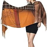 Cachemira de imitación Invierno Bufanda Chal Instrumento de guitarra de tema de música country americana y zapatos de vaquero en imagen de madera Mantón para Mujeres Cálida Grande Larga