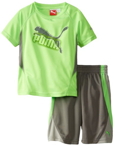 PUMA Little Boys' Cat Perforated Set-Toddler, Green Gecko, 2T