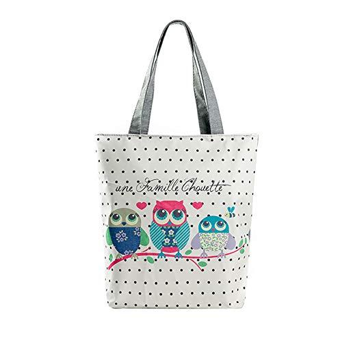 Outflower Europäische amerikanische kreative Animal Print Damen Stoffbeutel/Handtasche/Eule Druck Canvas Tasche