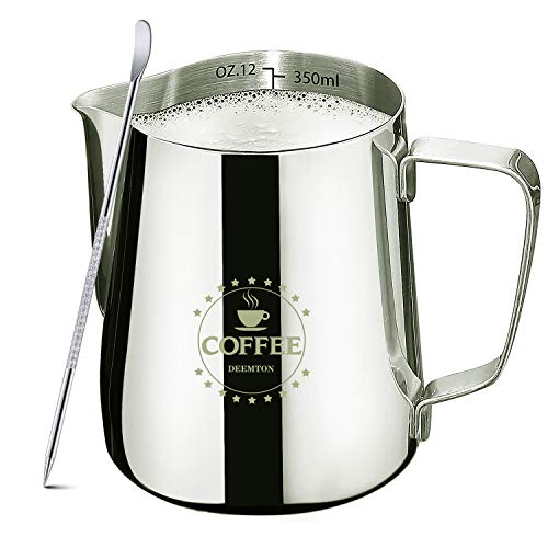 Milk Frothing Pitcher with Decorating Art Pen, Milk Frothing Cup Espresso...