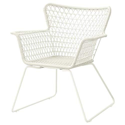 Stuhl mit Armlehnen, Outdoor, weiß, langlebig, handgewebter Kunststoff, pflegeleicht, Produktgröße: Breite: 73 cm, Tiefe: 65 cm, Höhe: 83 cm, Sitzbreite: 38 cm, Sitztiefe: 48 cm, Sitzhöhe: 42 cm