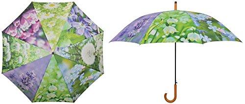 Esschert Design Regenschirm Blumen, 120 x 120 x 95 cm, aus Metall/Synthetik, mit Kunststoffgriff
