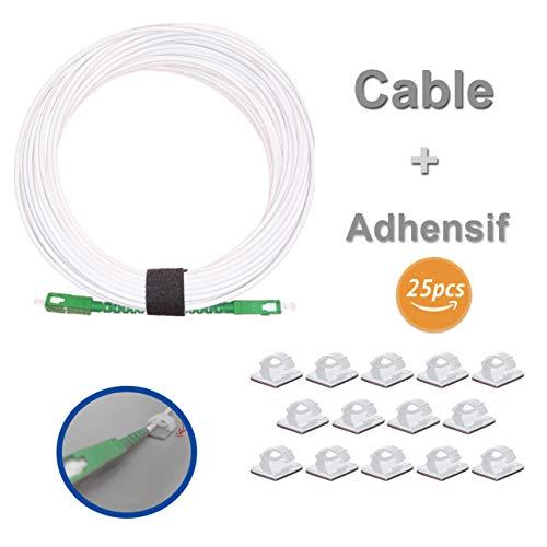 Elfcam LWL-Kabel SC/APC á SC/APC Monomode, mit 25 Kabelclips, optisches Strumpfband, kompatibel mit Orange Livebox, SFR La Box Fibre und Bouygues Telecom Bbox 10M weiß