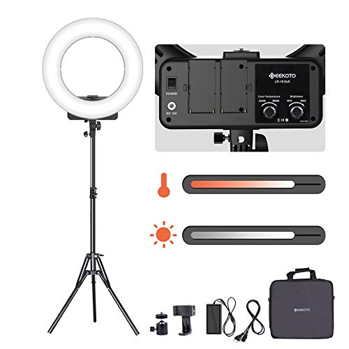 GEEKOTO Luce Anulare 18 Pollici, Luce Anello Dimmerabile, 48W Luce LED Anulare per Smartphone e Fotocamere, Bicolore 3200-5600K per Streaming Live Truccatura Riprese Video