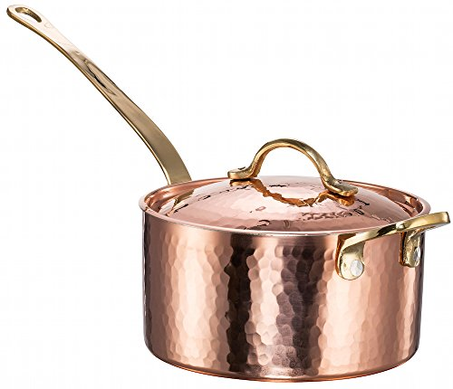 New DEMMEX 1.2MM Thick Hammered Copper Saucepan with Lid & Helper Handle (1.7-Quart)