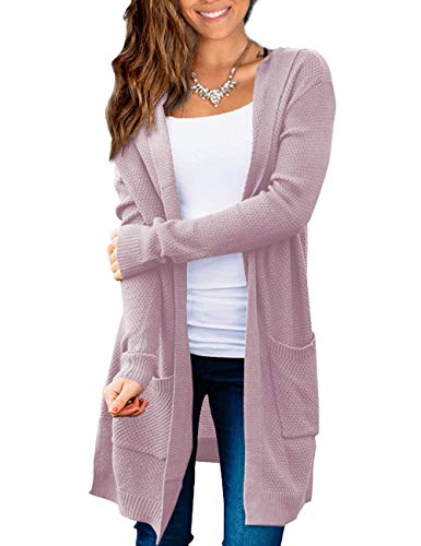 Beecarchil Women Open Front Cardigan Sweater Pocket Long Sleeve Solid Color Pink L