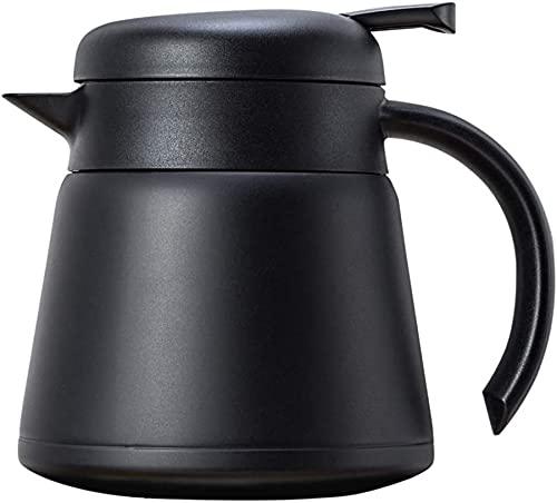Tetera De Cafetera con Aislamiento De Vacío De Acero Inoxidable De 800 Ml De Acero Inoxidable - Uso Dual Caliente Y Frío (Blanco),Negro