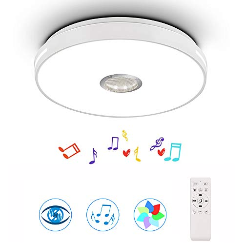 Horevo 24W LED Music Ceiling Light Color Changing Ceiling Lamp with Bluetooth Speaker and Remote Control, 2800-6000K 2120 LM Dimmable Light for Bedroom Kids Room