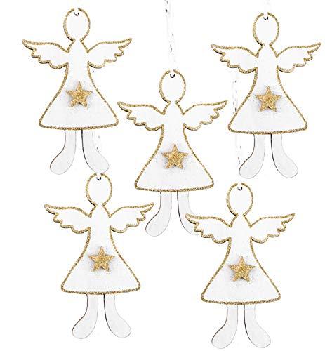 Logbuch-Verlag 5 weiß goldene Holzengel Anhänger Engelanhänger Engel Holz zum Aufhängen Stern Kinderengel Schutzengel Geschenk Weihnachtsanhänger
