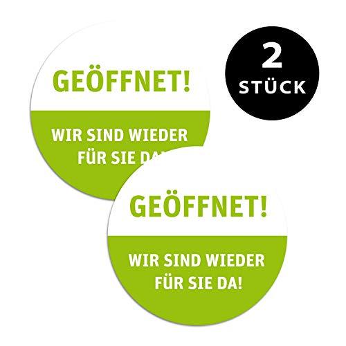 foliado® 2 Stück Digitaldruck Aufkleber GEÖFFNET - Wir sind wieder für Sie da - Wiedereröffnung Hinweis | rund Ø 50 cm | DAF-064