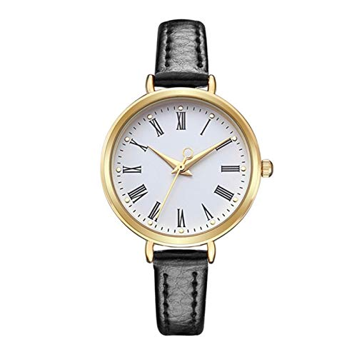 QHG Relojes para Mujer Banda de Cuero Impermeable Reloj de Pulsera Femenina Lady Watch Clock Movimiento de Cuarzo Números Romanos (Color : Black)