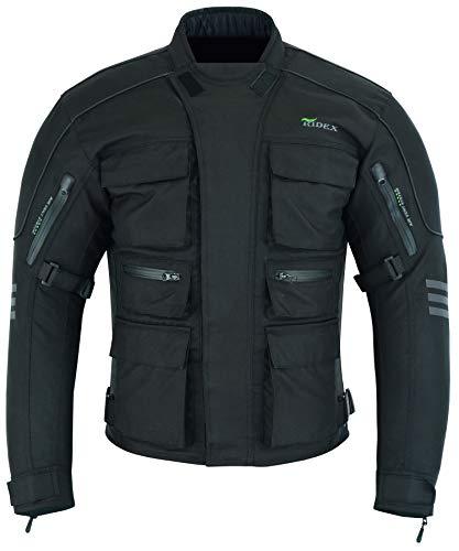 Giacca RIDEX CJ1 permotocicletta, da uomo, protezione impermeabile, uomo, Black, XL