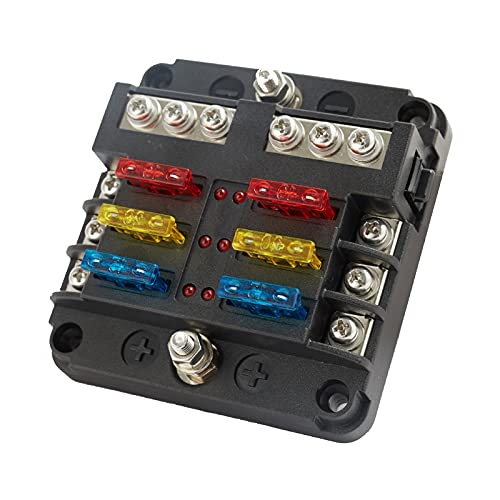 6 Ways Blade Fuse Box 12 Volt Fuse Block Holder Terminal 6 Circuit Negative BUS with LED Warning Indicator Damp-Proof Cover for 12V/24V Automotive Car Boat Bus Touring Car (with 12 pcs Fuses)