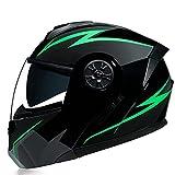 LHP Casco de Motocicleta Abatible Integrado Cascos modulares de Moto de Visera Doble con Visera Completa para Hombres y Mujeres Adultos Dot/ECE Homologado (Color : Green B, Size : S/Small 55-56cm)