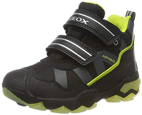 Geox Jungen J BULLER Boy B ABX C Hohe Sneaker, Schwarz (Black/Lime C0802), 24 EU