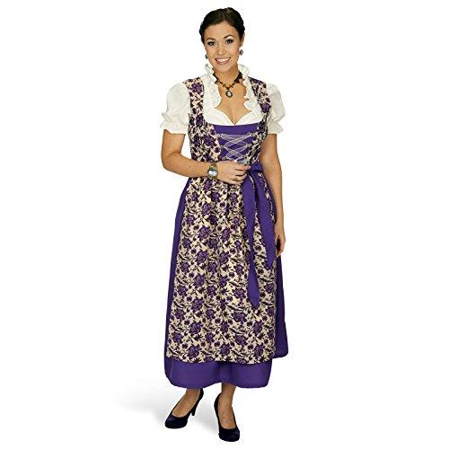 Elbenwald Dirndl Maxi Viola 3tlg Trachten Kleid Dirndl Bluse Schürze mit Rosenblüten zum Oktoberfest - 36/38