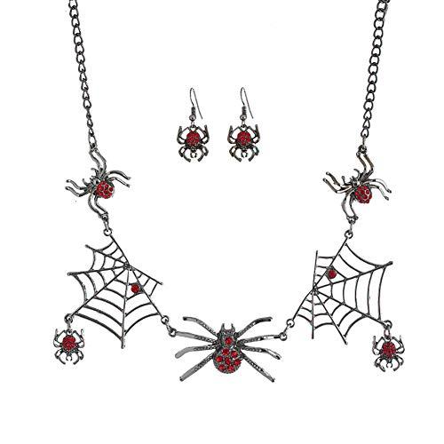 Demarkt Set de Aretes de Collar con Forma de Araña Carnaval Halloween Disfraces Juguetes Decoraciones Prop Y Cosplay 46CM 1 Set Pendientes + Collar