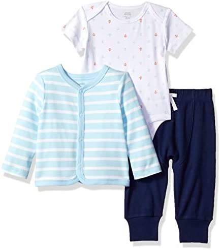 Amazon Essentials Infant Boys Cotton Cardigan Pants Bodysuit Outfit Sets 3 Piece Nautical Set product image
