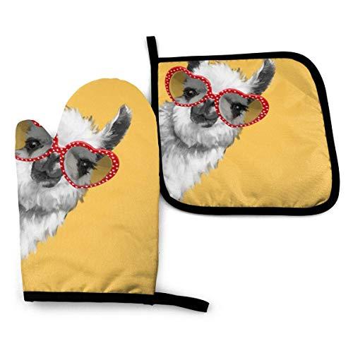 Manopla y agarradera para horno, moda Hipster Llama con gafas, guante de horno y soporte para ollas, avanzado guante de horno resistente al calor, antideslizante con textura agarre para ollas