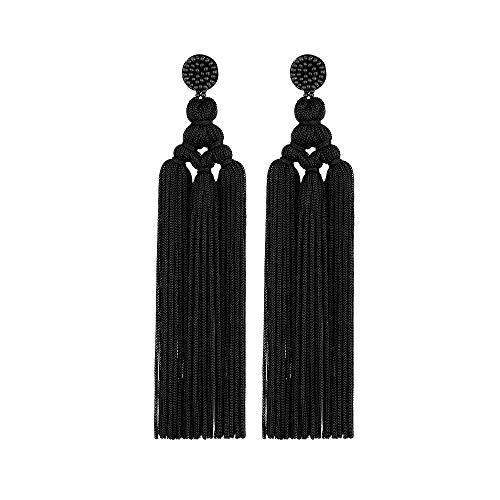 RSTJVB Pendientes de la Borla de Las Mujeres, Pendientes Largos de Borla, Pendientes Tejidos a Mano, joyería de Moda de Bead de arroz,Negro