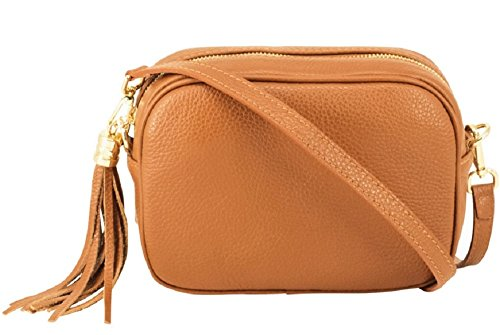 Montte Di Jinne - 100% Made in Italy - Soft Leather Leather Women's Cross Body Bag with Tassel key Ring (Light Tan)