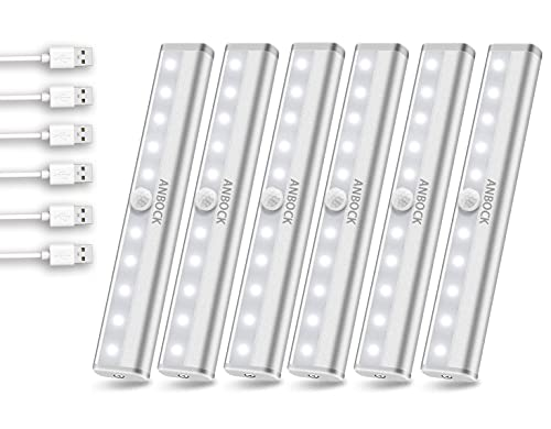 Under Cabinet Lighting, Anbock LED Wireless Motion Sensor Closet Lights Rechargeable Magnetic Stick On Light Bar, Perfect for Counter Kitchen Stairs Kids Room Hallway, 6 Packs