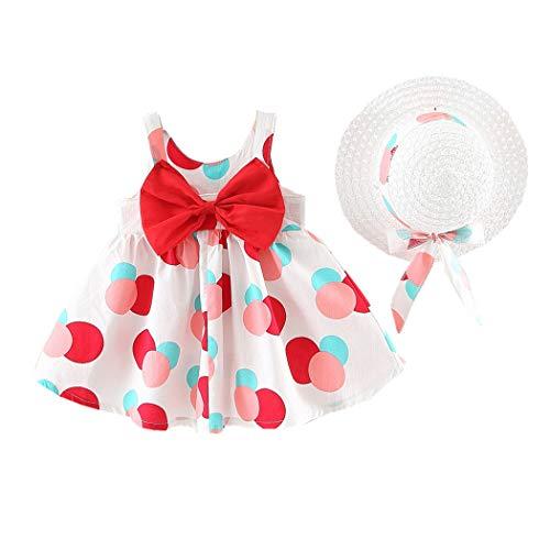 Allskid 0-3 Jahre alt Baby Mädchen Kleider Sommer Ärmellos Bunt Polka Dot Prinzessin Rock Bowknot Leibchen Kleid Girls Dresses Mit Hut (70CM/0-6 Months, Rot)