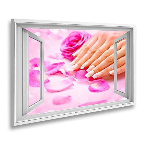 islandburner Bild auf Leinwand Fensterblick Maniküre Hände Spa Frauenhände Weiche Haut Wunderschöne Nägel Sagenhafter Effekt Wandbild Leinwandbild XCTD