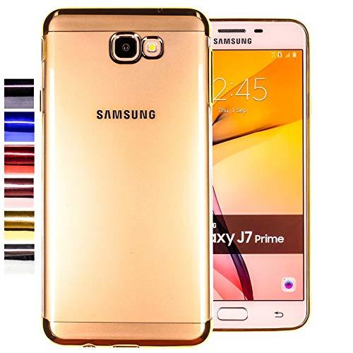 COOVY® Cover für Samsung Galaxy J7 Prime SM-G610Y /Duos SM-G610F / DS / On7 leichtes, ultradünnes TPU Silikon Bumper Case, transparent, Chrom Rahmen | Farbe Gold