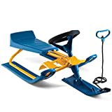 Frost Rush Snow Sled for Kids with 90⁰ Padded Steering Wheel and Twin Breaks | Ski Sled Snow Racer with Easy-Grip Pull Rope