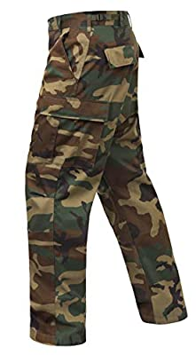 Rothco Relaxed Fit Zipper Fly BDU Pants, Woodland Camo, L