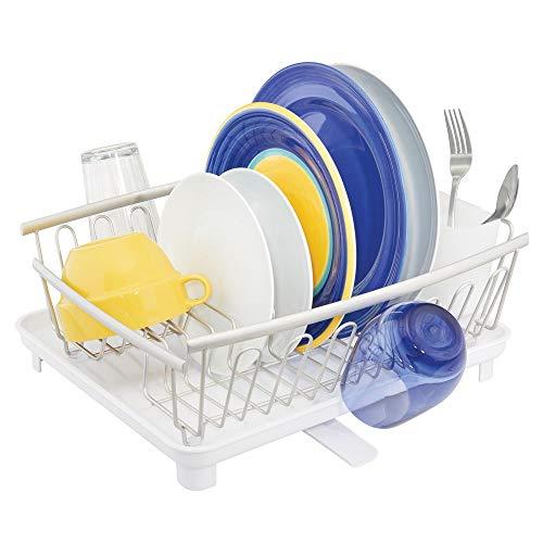 mDesign étendoir à vaisselle avec bac d'égouttement – égouttoir à vaisselle pour l'évier – sèche-vaisselle avec bac récepteur en métal et plastique – argenté mat/blanc